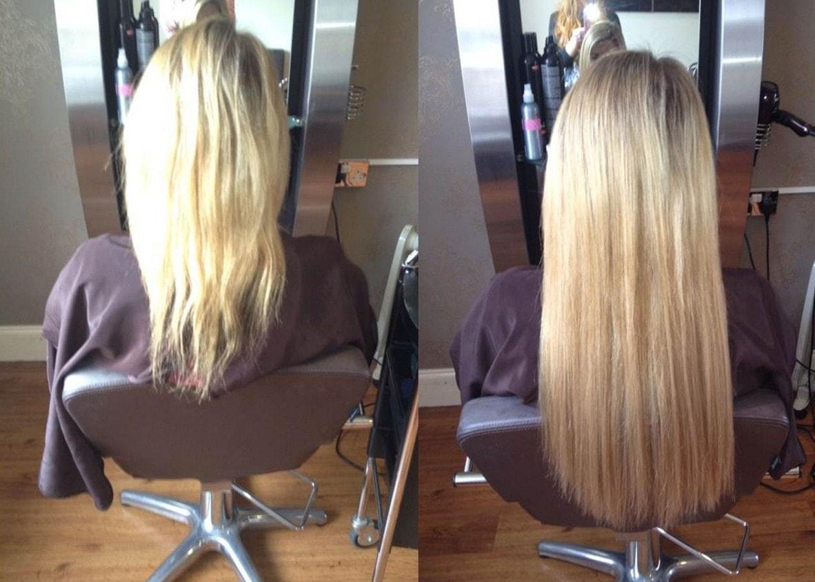 Avant après rallonges de cheveux