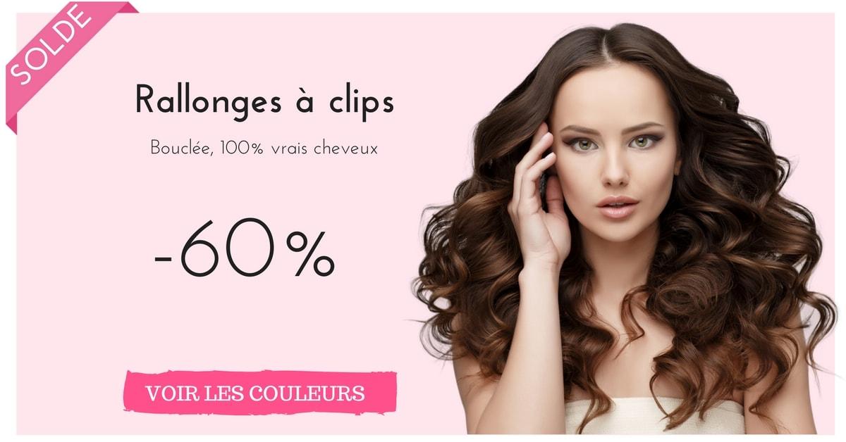 Rallonges avec clips bouclée 100% vrai cheveux humains en solde