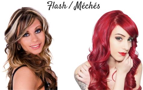 Rallonges cheveux couleurs flashs et méchés