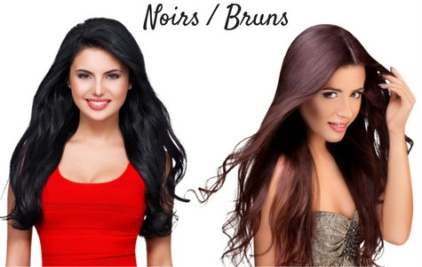Rallonges cheveux couleurs noirs et bruns