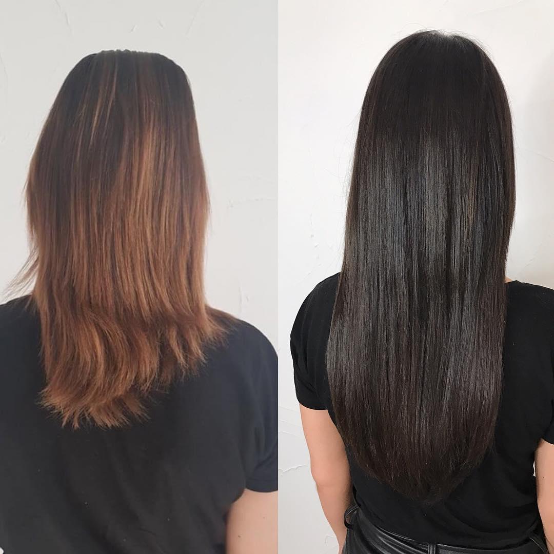 Avant après rallonges cheveux extensions